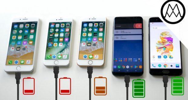 iPhone 8 vs Galaxy S8+ vs Oneplus 5 confronto batteria